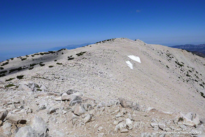 View west from near the summit of San Gorgonio Mountain on July 29, 2017.