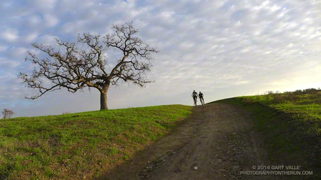 Mountain bikers at the top of The Beast at Ahmanson Ranch.