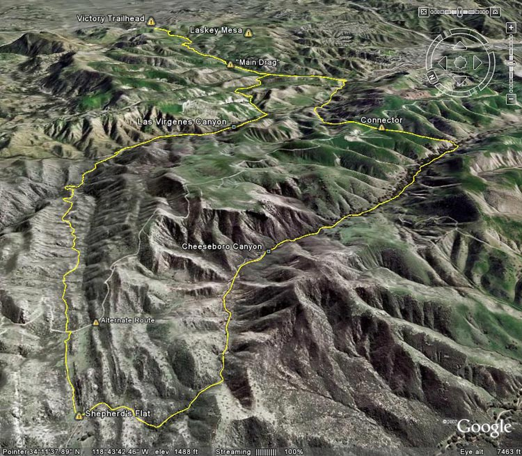 Google Earth image of Ahmanson-Cheeseboro Canyon keyhole loop.