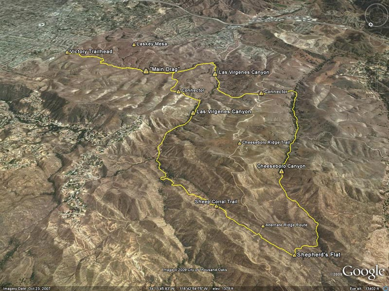 Google Earth image of a GPS trace of the Ahmanson-Cheeseboro Canyon keyhole loop.