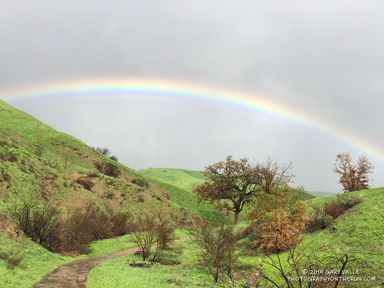 Rainbow at Ahmanson Ranch a few months after the Woolsey Fire.