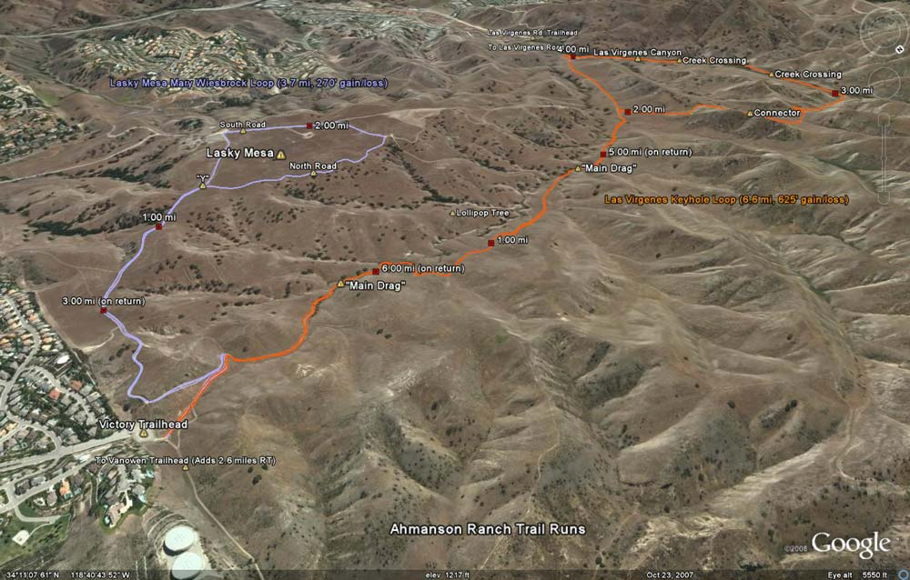 When the KMZ file is opened in Google Earth, two of the Ahmanson Ranch Trail Runs are initially displayed.