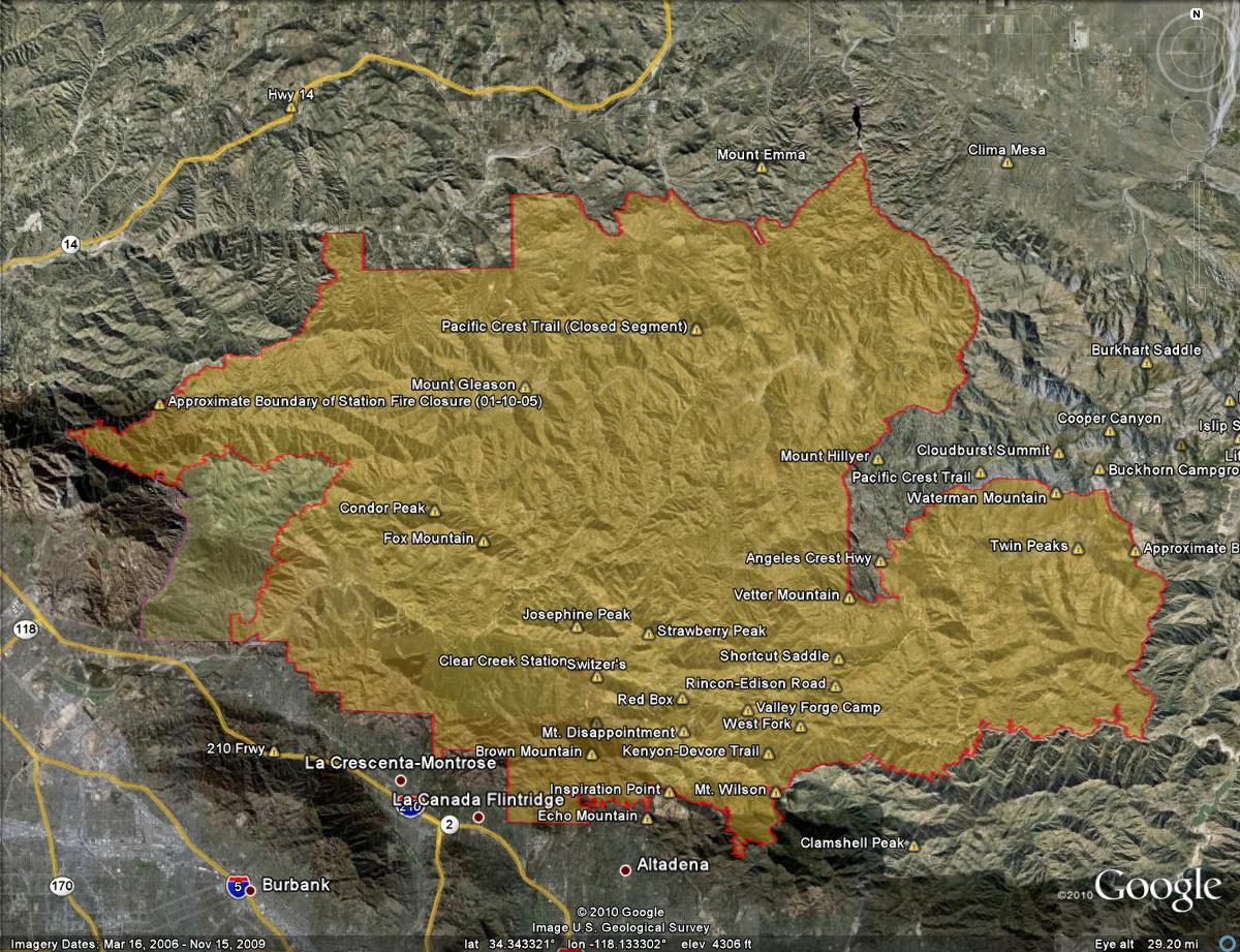 Google Earth image of the Station Fire Closure Area with the recently opened area shown on the left, and the approximate closure boundary as derived from Angeles National Forest order 01-10-05.