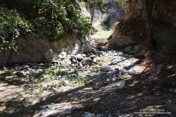 Arroyo Seco creek below Switzer Falls. Some of the sediment that resulted from the Station Fire and subsequent erosion and flash floods was washed away this past rain season. September 9, 2017.