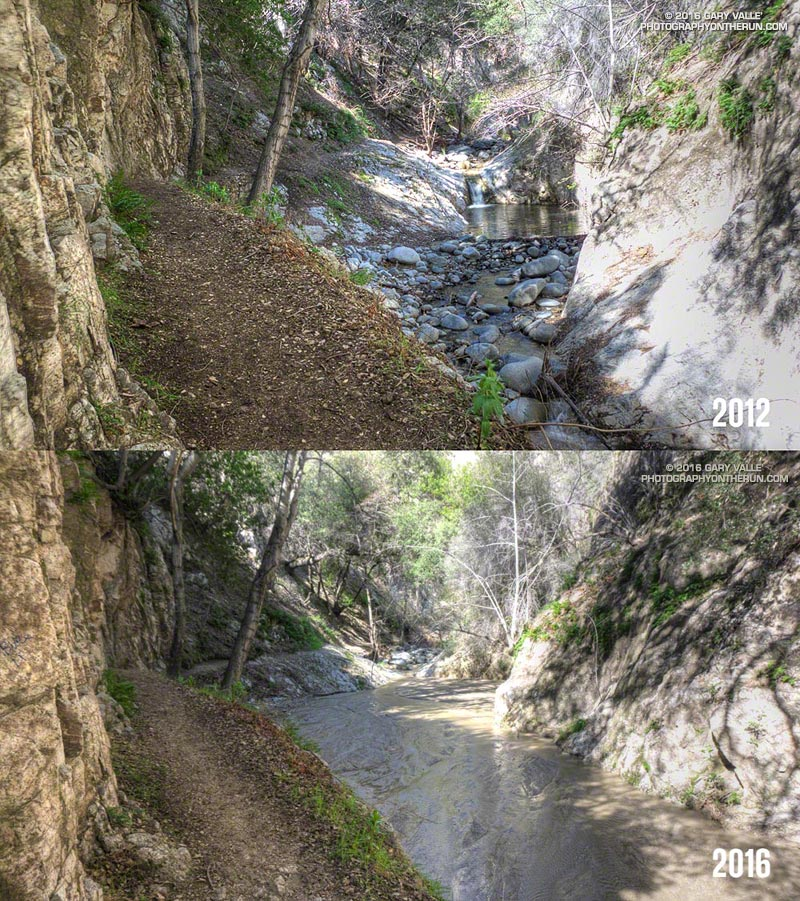 Runoff from a recent storm has filled the streambed in Arroyo Seco below Switzer Falls with silt. February 27, 2016.