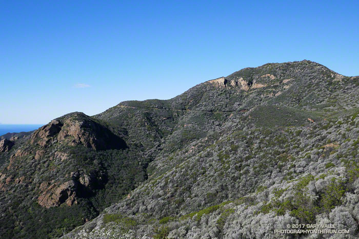 Peak 2658, the site of the old Triunfo Lookout. The Backbone Trail can be seen cutting across the face of the peak.