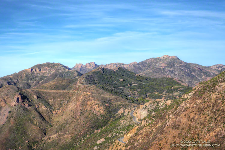 Backbone Trail, Triunfo Lookout, Boney Mountain, and Sandstone Peak from Etz Meloy Mtwy