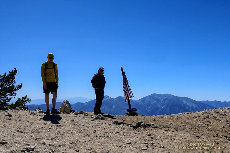 Social-distancing on the summit of Mt. Baden-Powell. Pine Mountain, Dawson Peak and Mt. Baldy are across the canyon, and San Gorgonio Mountain is in the distance. San Jacinto Peak is in saddle between Dawson Peak and Mt. Baldy, but difficult to see. June 20, 2020.