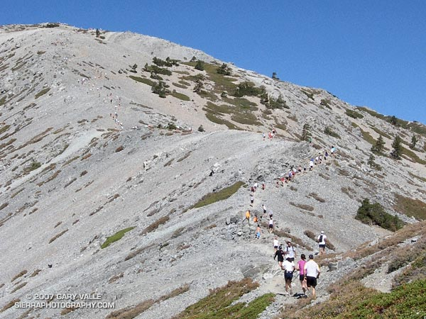 Runners winding their way up the final steep climb to the summit of 10,064 ft. Mt. Baldy during the 2007 Run to the Top race.