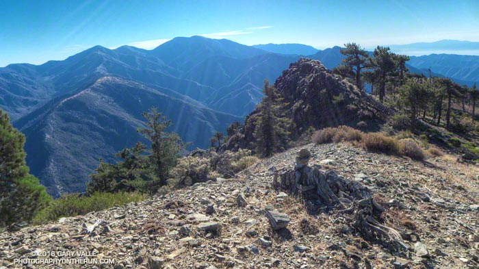Pine Mountain Ridge, Pine Mountain, Dawson Peak, Mt. Baldy, Ontario Peak, Iron Mountain and Santiago Peak (in the distance) from Mt. Baden-Powell's south ridge.