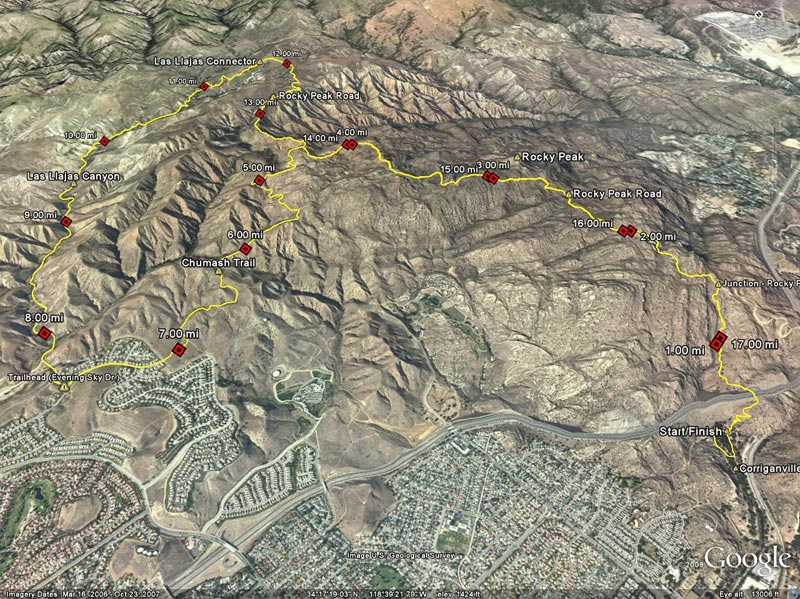 Google Earth image of a GPS trace of the Bandit 30K race course. Simi Valley, California, March 14, 2009.