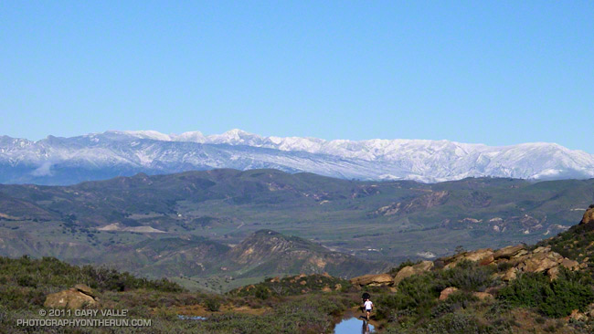 Snow on the Ventura Mountains from near the top of the Rocky Peak grade at about mile 5.5 of the 50K.