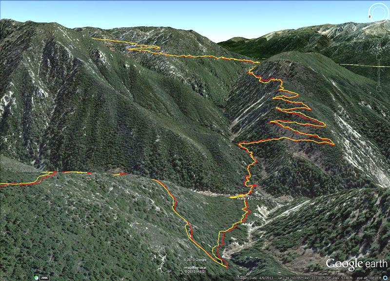 Google Earth image of the Camp Creek Trail descending to Bear Creek, then the climb out on the reopened Siberia Creek Trail. The Bear Creek crossing was at about mile 32.9 of the 2013 Kodiak 50 mile and mile 82.2 of the 2013 Kodiak 100 mile.