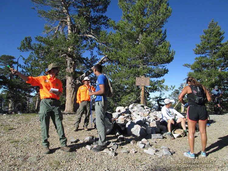 Big Bear SAR checked in runners on the summit of Sugarloaf Mountain (9952'), the high point of 100M, 50M and 50K courses.
