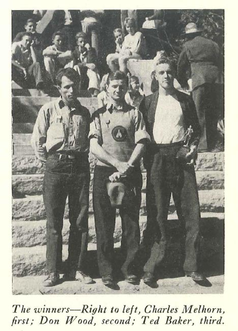 Winners of the 1938 Fifth Annual Big Pines Trail Marathon (Right to left) -- Charles Melhorn, Don Wood and Ted Baker. Photo from Trails Magazine, courtesy of the Los Angeles County Department of Parks and Recreation.