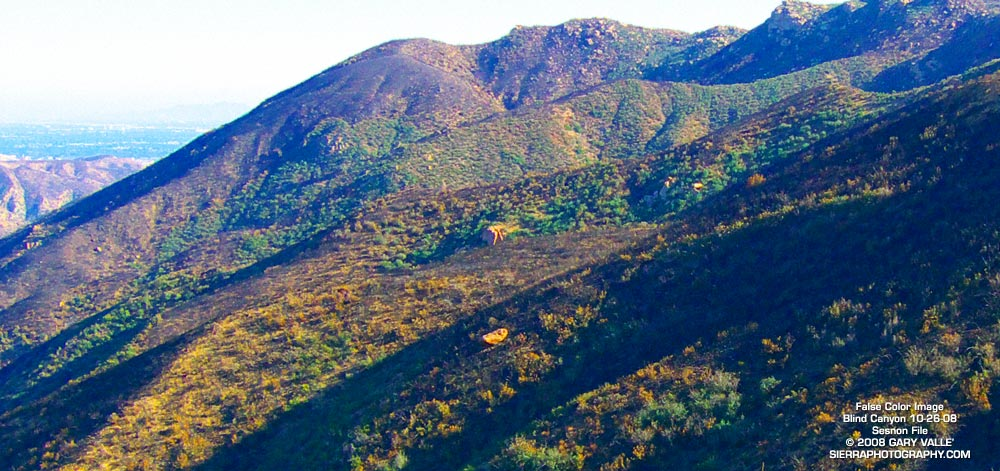 False color image of slopes on the southwest side of Blind Canyon following the Sesnon Fire. The image has been modified to emphasize burned and unburned areas. October 26, 2008.