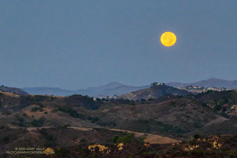 Setting full Moon, a few minutes before sunrise on Halloween 2020, from Fire Road 30 & dirt Mullholland, in the Santa Monica Mountains.