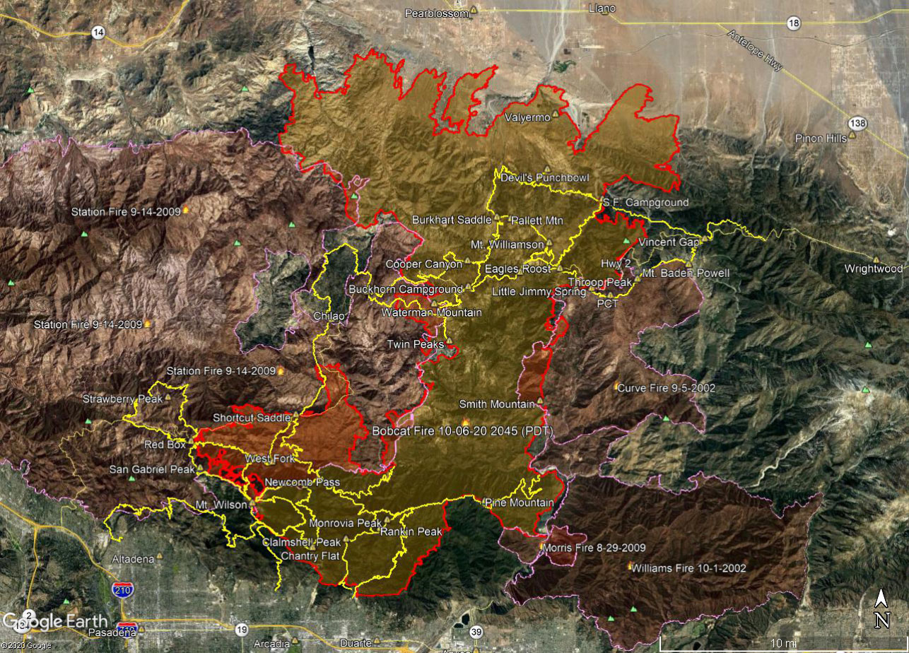 A Google Earth image of a Bobcat Fire perimeter and some trails in Angeles National Forest. The perimeter is from the NIFC and its timestamp is indicated. Perimeters for the 2002 Curve Fire, 2002 Williams Fire, 2009 Morris Fire and 2009 Station Fire are also shown. The area inside the Bobcat perimeter is transparent yellow. Where the Bobcat perimeter overlaps older perimeters the area appears transparent orange. All map data are approximate.