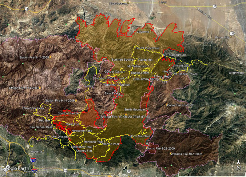 Bobcat Fire Perimeter and Some Angeles National Forest Trails