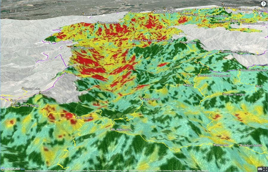 3D terrain snapshot of Bobcat Fire Soil Burn Severity and some Angeles National Forest trails