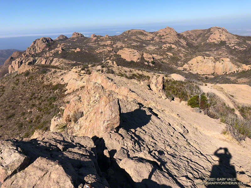 Boney Mountain area peaks from the top of Sandstone Peak.