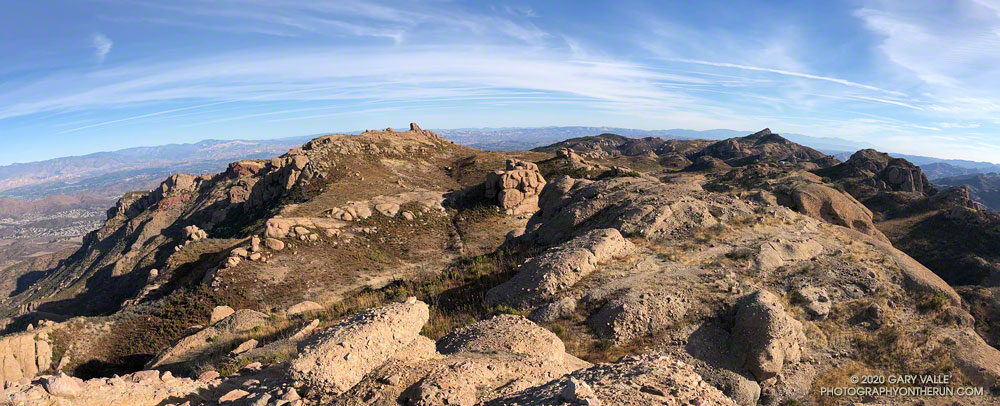 View northeast from Boney Bluff. The summit block of Tri Peaks is just left of center and Sandstone Peak is on the right. Sandstone Peak is the highest peak in the Santa Monica Mountains. November 21, 2020.