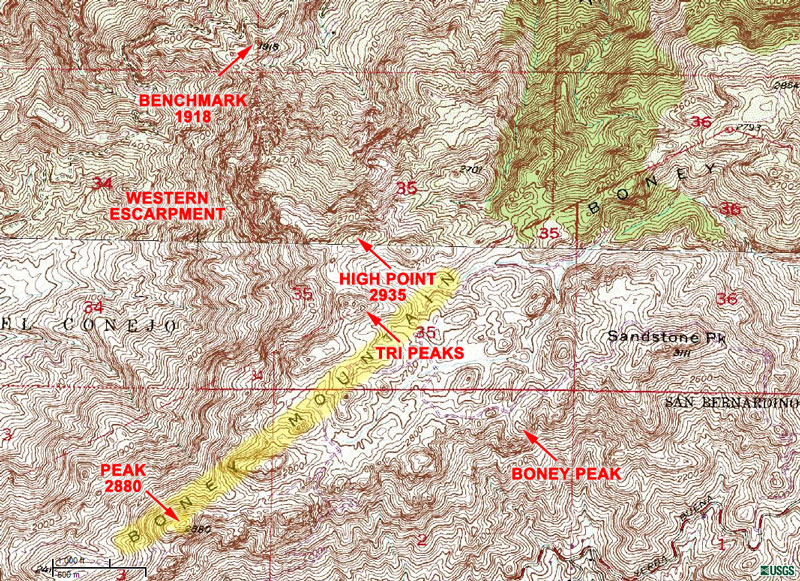 Section of the traditional USGS 7.5 minute Triunfo Pass and Newbury Park topographic maps, showing the extent of Boney Mountain, and some related features.