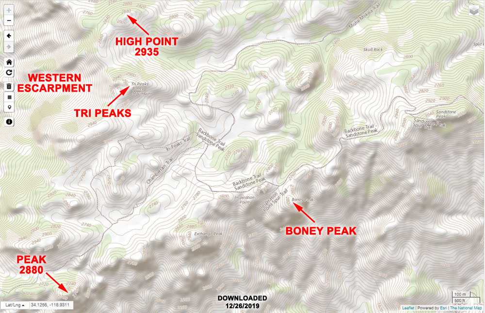 Online version of US Topo topographic map (downloaded 12/26/19), showing the Boney Mountain area, with some of the features labeled.