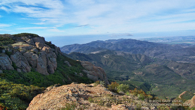 View from near Tri-Peaks across the Boney Mountain Wilderness to La Jolla Valley, Laguna Peak and Pt. Mugu.