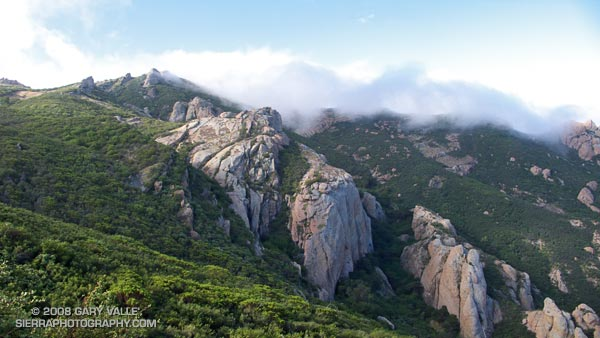 Clearing clouds on Boney Mountain in Southern California's Santa Monica Mountains.