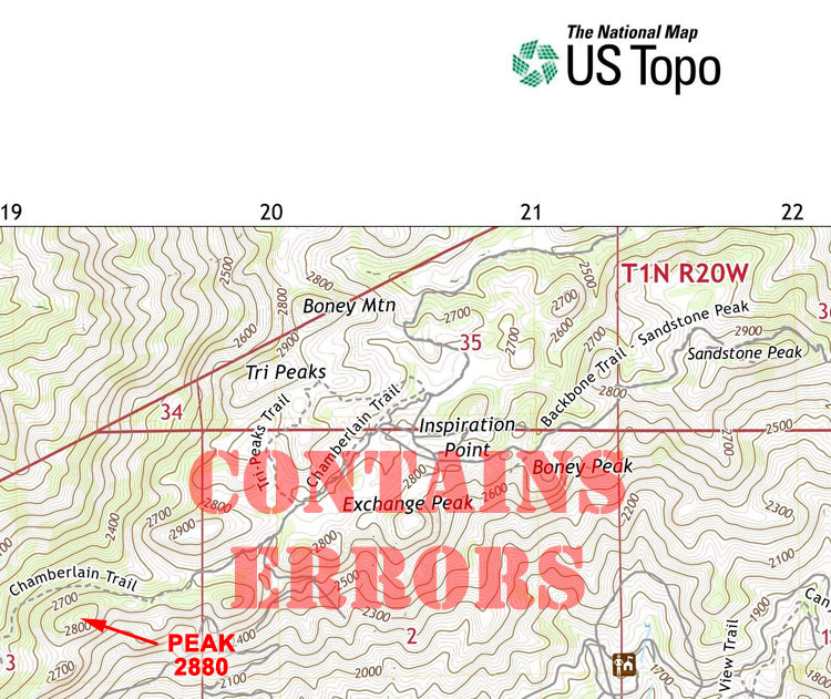 A section of the 2018 edition of the GIS-based USGS US TopoTriunfo Pass topographic map, with Tri Peaks labeled 'Boney Mountain,