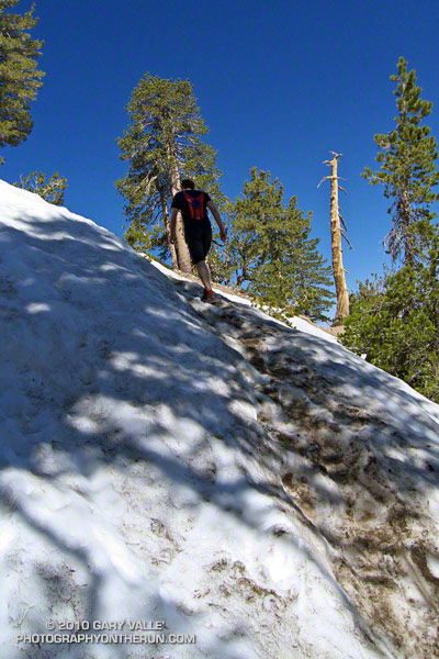 Snow on the PCT below the summit of Mt. Baden-Powell.
