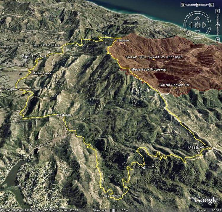 Google Earth image of a GPS trace of the Bulldog Loop, with the 11-27-07 GEOMACS Corral Fire perimeter added.