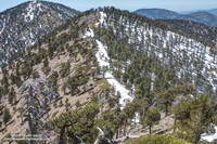 Mt. Burnham (near) and Throop Peak (behind) from just west of Mt. Baden-Powell.