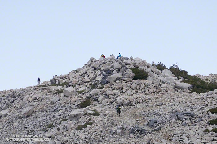 The busy summit of San Gorgonio Mountain (11,499'), the highest mountain in Southern California.