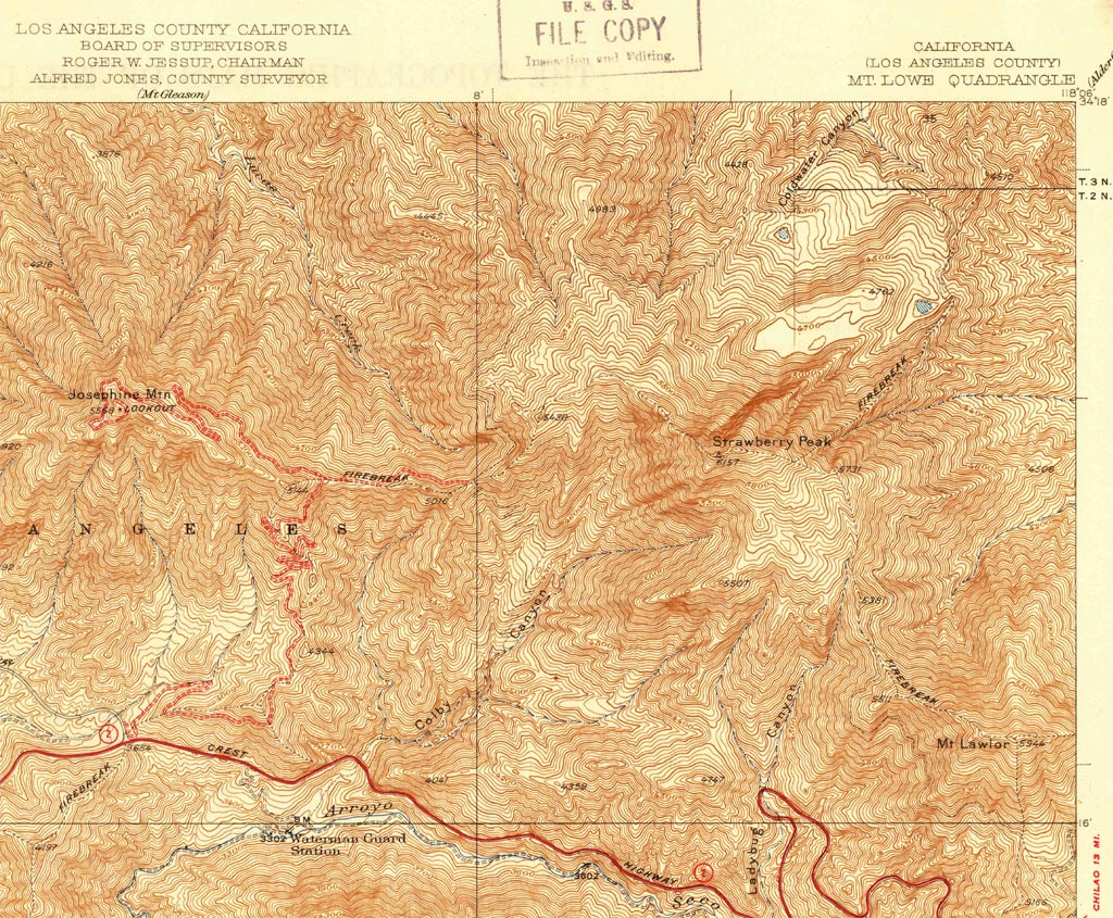 A section from the USGS Mt. Lowe Quadrangle 1939 Edition (Scale 1:24000) Advance Sheet that includes Strawberry and Josephine Peaks, Angeles Crest Highway, and some of the trails in the area.