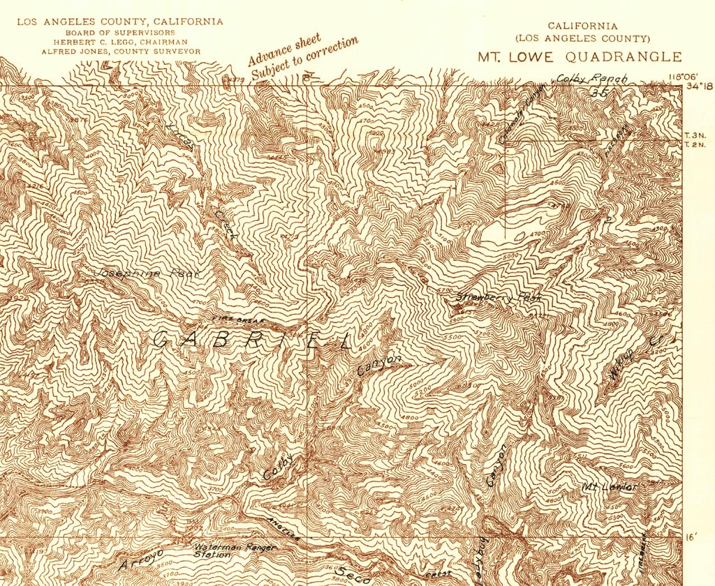 A section from the USGS Mt. Lowe Quadrangle 1934 Advance Sheet (Scale 1:24000) that includes Strawberry and Josephine Peaks, Angeles Crest Highway and some of the trails in the area.