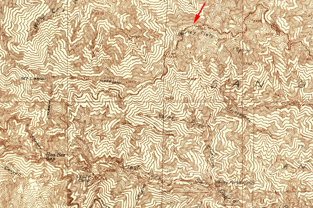 Sections of the USGS 1934 Mt. Lowe and Mt. Wilson Quadrangle