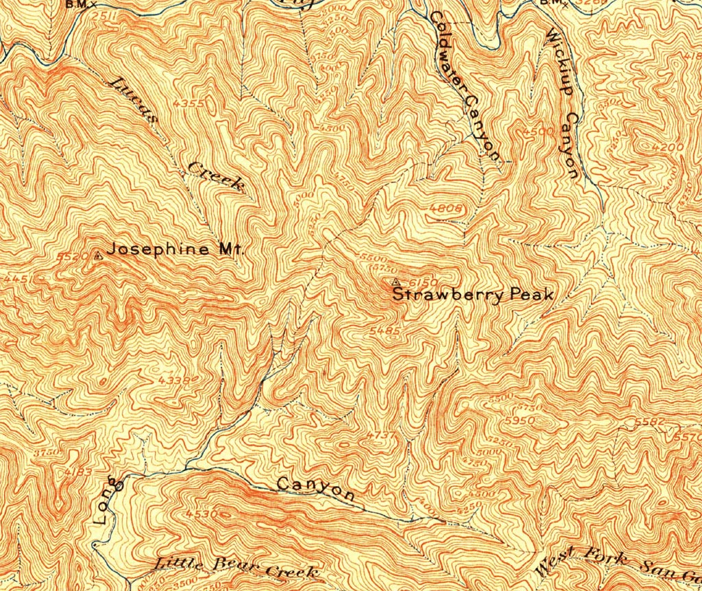 A section from the USGS Tujunga Quadrangle 1900 Edition (Scale 1:62500) that includes Strawberry and Josephine Peaks and the old Colby Trail.
