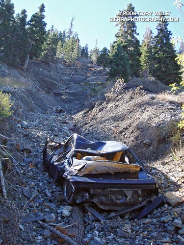 A totaled vehicle is an odd thing to find on a trail.