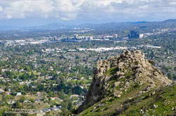 Castle Peak with the San Fernando Valley and Warner Center in the background.