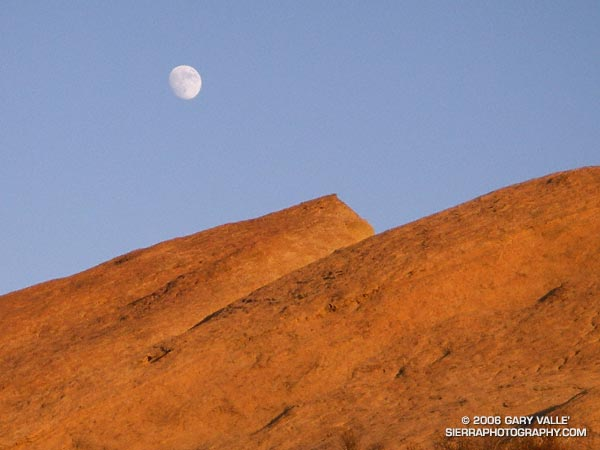 Moon rising over rocks of the Chatsworth Formation at Sage Ranch Park.
