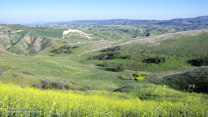 View southeast from the Cheeseboro Ridge Trail toward Las Virgenes Canyon and Lasky Mesa.