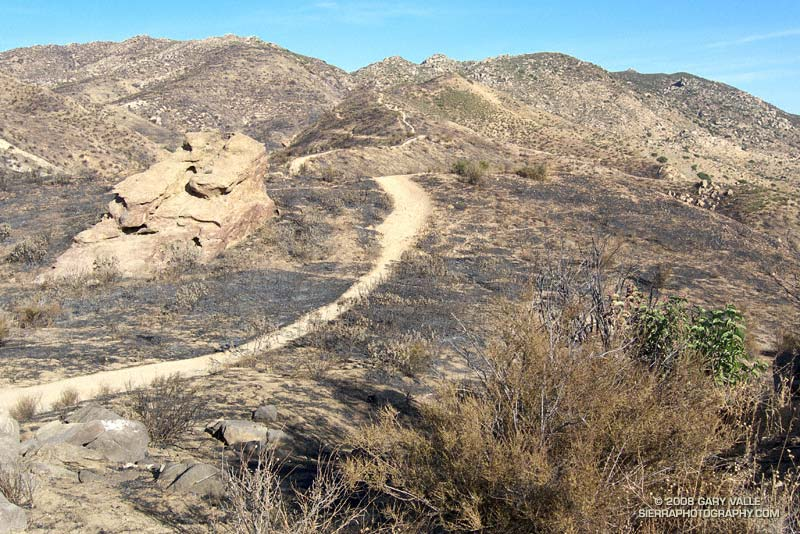 A section of the Chumash Trail following the 2008 Sesnon Fire. The Chumash Trail is in Rocky Peak Park, near Simi Valley, California.