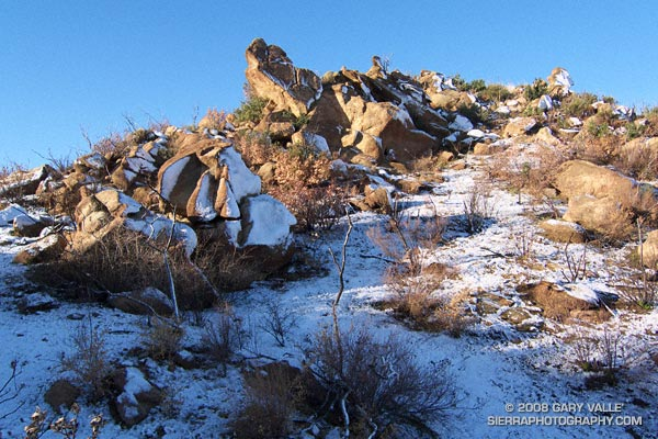 Rocks and snow at the top of the Chumash Trail, near its junction with Rocky Peak fire road. December 18, 2008.