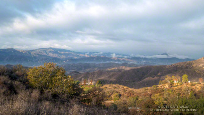 View west this morning from the Secret Trail in Calabasas toward Castro Peak and part of Malibu Creek State Park
