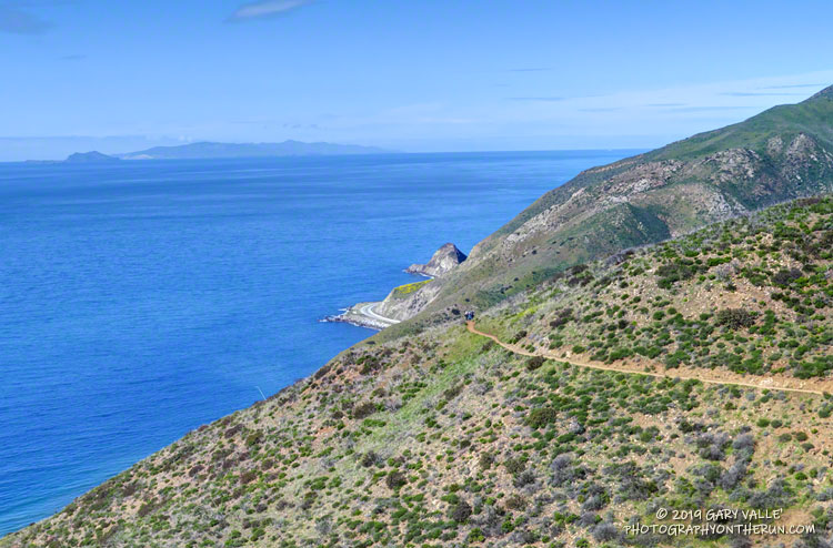 View of PCH, the Pacific, Anacapa Island and Santa Cruz Island from the Ray Miller Trail, in the Santa Monica Mountains, near Los Angeles.