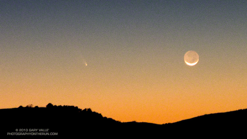 Comet PanSTARRS and the Crescent Moon taken on a night run in the Simi Hills, near Los Angeles. Lumix LX7 at f/2.3 for 1 sec at ISO800 at the 35mm equivalent of 90mm. March 12, 2013 at about 7:50 PM PDT.