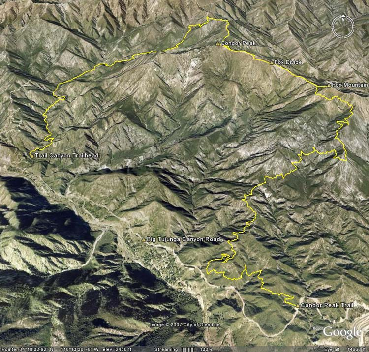 Google Earth image of a GPS trace of a trail run on the Condor Peak and Trail Canyon trails, including ascents of Fox Mountain and Condor Peak.
