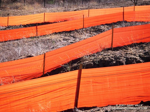 Still life of orange silt fences at the base of the Hummingbird Trail in Simi Valley.